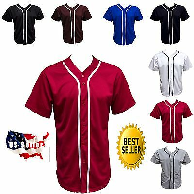 New Men Baseball Shirts Reglan Jersey Button Plain Solid Sports Tee Size Xs~2Xl