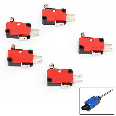 5Pcs Micro Limit Switch V-155-1C25 Short Hinge Roller Tip Lever Snap Action New