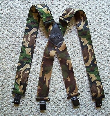 Camo Camouflage Vintage NICHOLAS Suspenders Hunting Adjustable Made In USA EUC