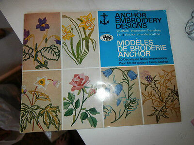 Vtg mid century Anchor embroidery Designs bk 1047 floral abstract pixie unused