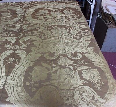 Large 19thC Pale Yellow Panel Of French 19thC Antique Silk Damask Fabric Textile