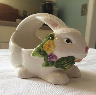 Cute White Ceramic Easter Bunny Rabbit Basket with Handle with Flowers