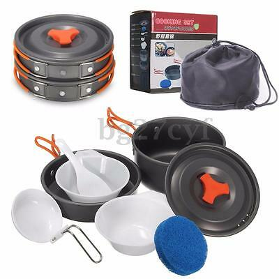 8Pcs Outdoor Camping Hiking Picnic Backpacking Cooking Bowl Pot Pan set Cookware