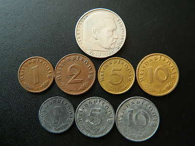 2 Reichsmark 10 pfennig with Swastika 1 Set of Germany 8 coins 5 2 S10