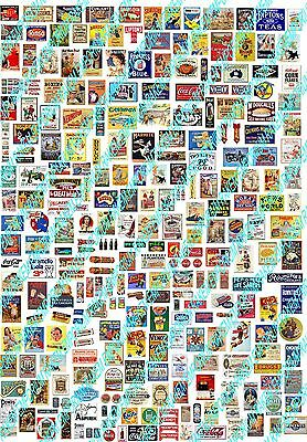 HO Scale Bulk Mixed Poster Signs Pack A4 Sheet - Model Railway Signs - BPSM1