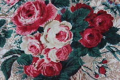 Antique Hand Blocked French Cabbage Roses & Bows c1870 Chintz Sample Fabric