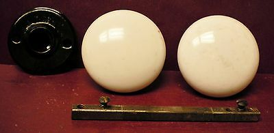Authentic Antique White Porcelain Rim Lock Door Knobs With Rosette #02