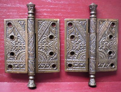 "2 Antique Heavy Fancy Iron 4 ½"" X 4 ½"" Nice Patina Door Hinges #6"