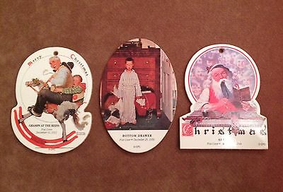 3-Wooden Norman Rockwell Post Cover Christmas Tree Ornaments