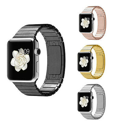 Stainless Steel Butterfly Lock Link Bracelet Watch Band Strap for Apple Watch