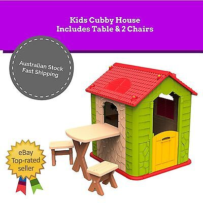 NEW Kids Indoor Outdoor Playhouse Cubby House Pretend Play Table Chairs