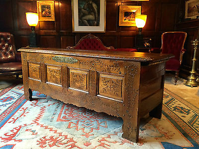 Very Large Antique Chest Coffer Normandy George III Solid Oak 19th Century