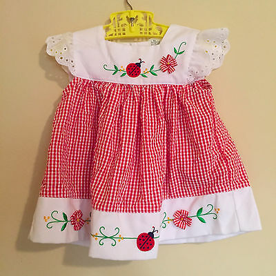 Ladybug Baby Dress, Vintage Baby Girls Red Gingham Dress with Ladybugs red White