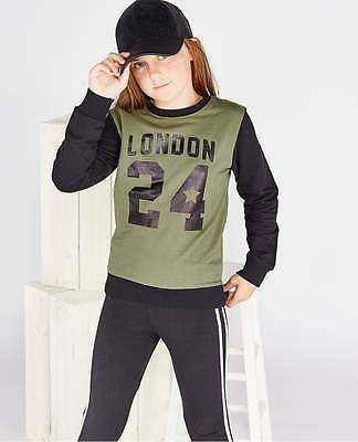Wolf Pax Girl London Front Print Long Sleeve Crew Neck Cotton Sweatshirt Top