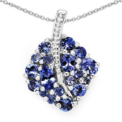 1.48ct TW Genuine Tanzanite in Solid 925 Sterling Silver Leaf Pendant Necklace