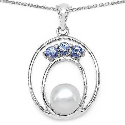 0.35ct TW (3pcs) Genuine Tanzanite & 7mm Pearl in 925 Sterling Silver Pendant