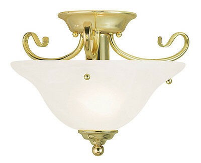 1 Light Livex Polished Brass Coronado Semi Flush Ceiling Mount Fixture 6109-02
