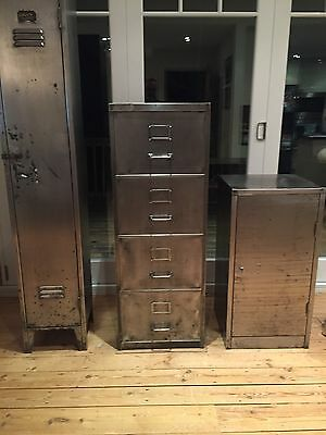 Vintage Industrial Stripped Metal Four Draw Filing Cabinet Mid Century