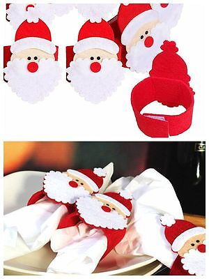 12pcs Christmas Santa Napkin Rings Serviette Holder Dinner Table Party Decor UK