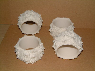 Set Of Four Unusual Bisque White Porcelain Napkin Rings - Sea Urchin Design