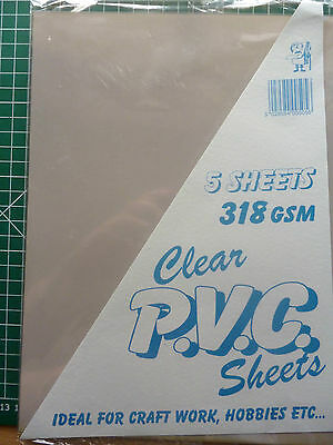 14cm x 21cm 5 sheet pack of acetate- clear plastic- crafting- box making 318 gsm