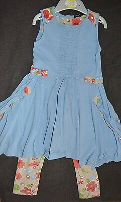 Autograph Toddler Girls 1,5-2 yrs 2 piece set Blue Dress and Floral Leggings