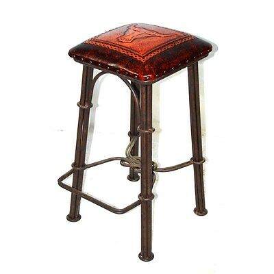 Silkroute BC852 Cowboy Bar Stool With Leather Seat