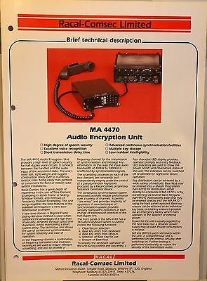Vintage original advertising brochure for Racal MA 4470 Audio Encryption Unit