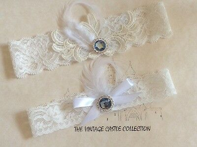White Bridal Wedding Garter Set Feather Lace Flower Blue Crystal Pearl