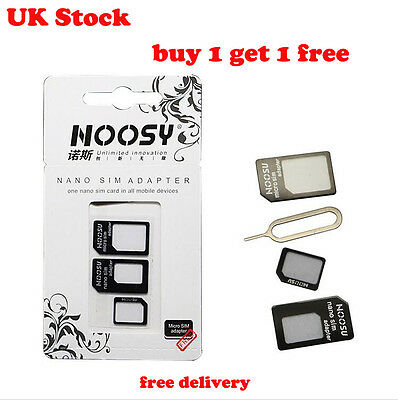 UK Stock 4 IN 1 PACK NANO TO MICRO & STANDARD SIM CARD ADAPTER FOR MOBILE PHONES