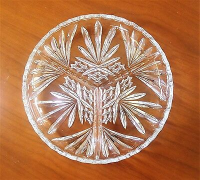 "Cut Crystal 8"" Round Divided Dish Fan Diamond Pattern CR-1"