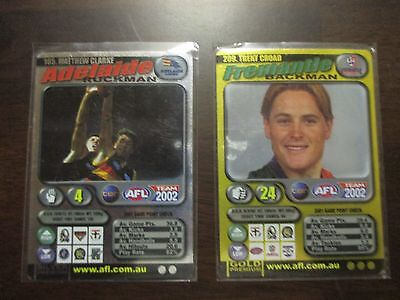 AFL TRADING CARDS 2002 teamcoach, silver and gold card