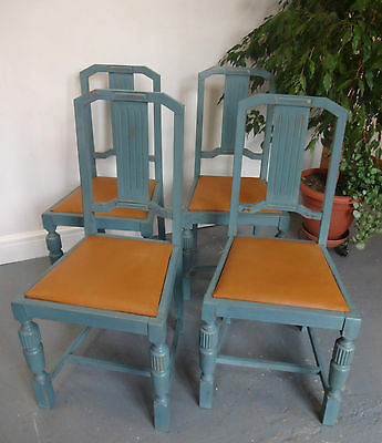 Lovely Set Of Four Retro Wooden Painted Shabby Chic Upholstered Chairs