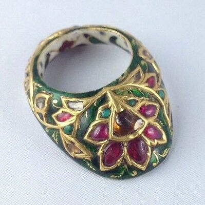 Mughal Gem-Set And Enamelled Gold Archer's Thumb Ring Late 19Th Century