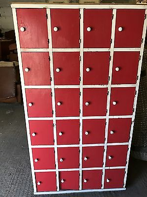 Vintage, Industrial, French, Wood Antique Lockers, Original, Pine