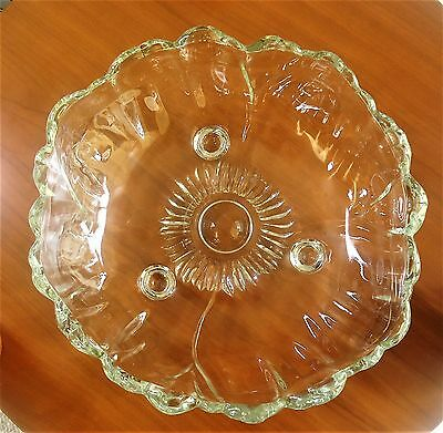 "Crystal 11"" Round Footed Serving Bowl Floral Design CR-2"