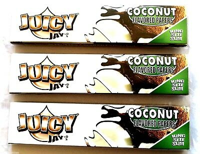 3 x JUICY JAYS KING SIZE RIPS COCONUT FLAVOURED CIGARETTE ROLLING PAPERS RIZLA