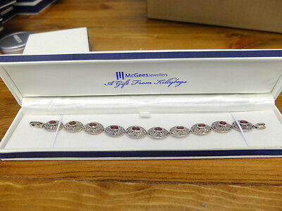 Marcasite 925 Sterling Silver Oval Bracelet with Authentic Red Ruby Gemstone