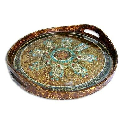 Silkroute PST373-BR Cali Round Tray - Brown/Yellow