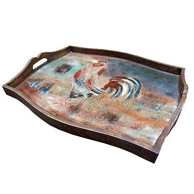 Silkroute PST50 Rooster Hand Painted Glass/Wooden Tray