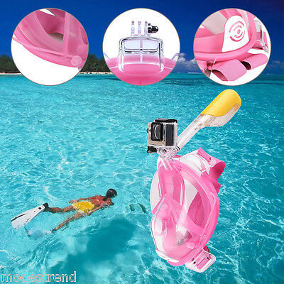 Full Face Snorkeling Snorkel Mask Diving Goggles With Breather Set For GoPro Cam