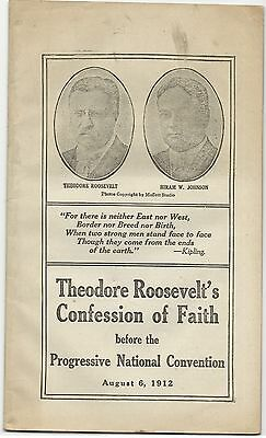 1912 Theodore Roosevelt Bull Moose Convention Speech Pamphlet TR Johnson Cover