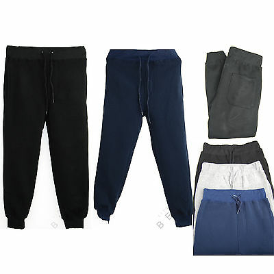 Kids Boys Fleece Sports PE Joggers Jogging Pants Trousers Bottoms 3 Pockets