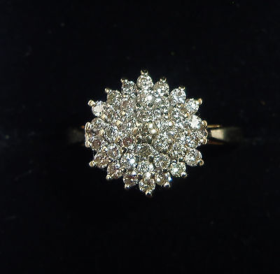 9ct Gold Hexagonal 0.50ct Diamond Cluster Ring, Size O