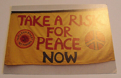 1981 CND Rally POSTCARD Totnes Womans Center Anti Nuclear Power Flag/ Banner Art