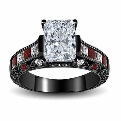 2.60 Ct White & Red Harley Quinn inspired 925 Silver Engagement Ring Size 4-12