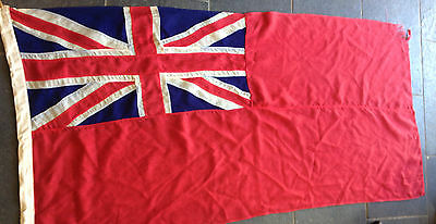 Large Vintage Red Ensign Panal Stitched Cotton Flag Circa Wwii