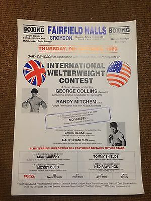 9th OCTOBER 1986 International BOXING MATCH FIGHTING VINTAGE POSTER LONDON