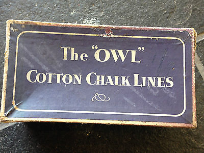 Vintage The Owl Cotton Chalk Lines Old Shop Stock 3 20 Yard Builders Chalk Lines