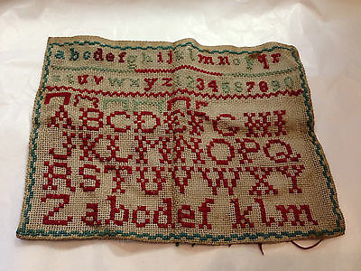 Vintage Hand Sewn Cross Stitch Alphabet Sampler Assume 20Th Century